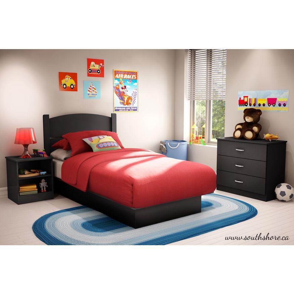 South Shore Libra 3 Piece Pure Black Twin Kids Bedroom Set