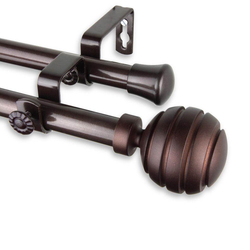 Rod Desyne 48 In 84 In Telescoping Double Curtain Rod Kit In Cocoa With Poise Finial 4791 487 The Home Depot