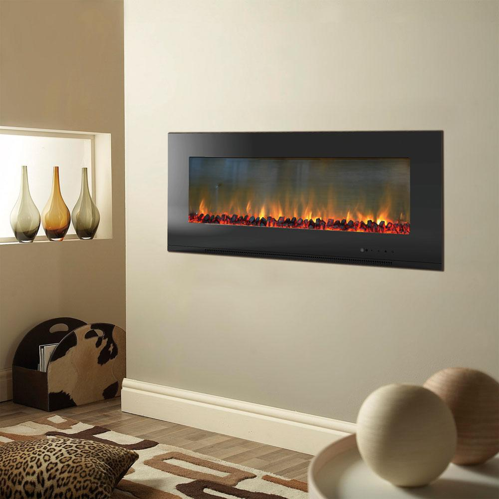 Wall Mount Fireplaces Cambridge Metropolitan 56 In Wall Mount Electic Fireplace In Black