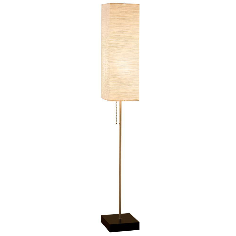 Fancy Standing Lamps 60 In Brushed Nickel Floor Lamp With Paper Shade And Decorative Faux Wood Base