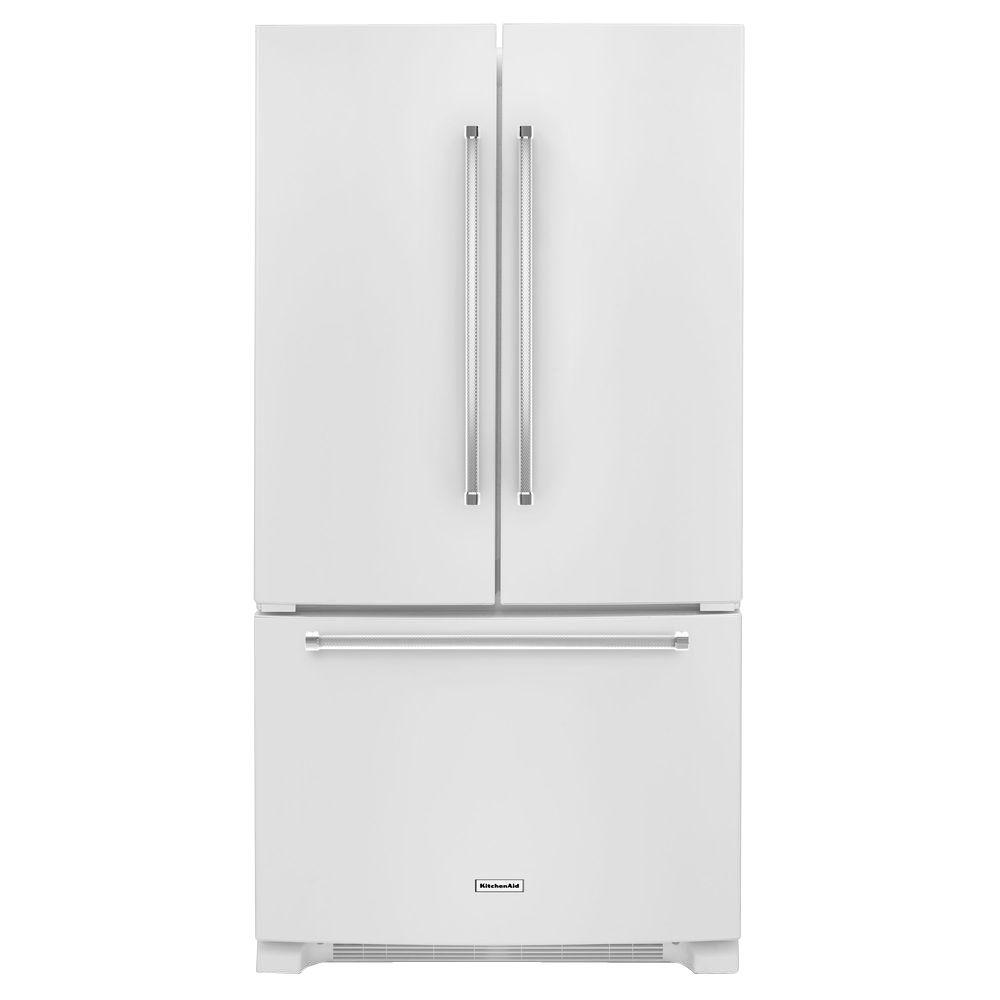 Home Depot Fridges Canada Kitchenaid 25 Cu Ft French Door Refrigerator In White With Interior Water Dispenser