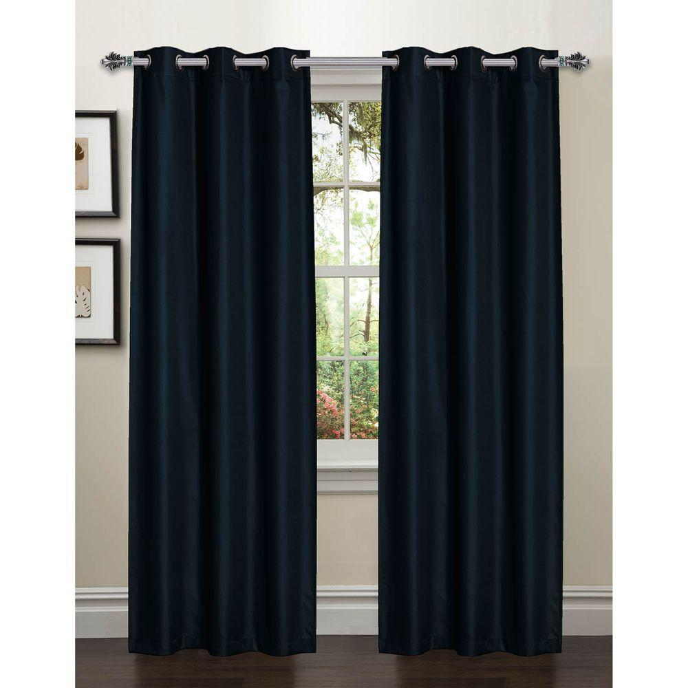 How To Make Lined Curtain Panels Bella Luna Semi Opaque Galaxy 84 In L Room Darkening Textured Grommet Curtain Panel Pair Indigo Set Of 2