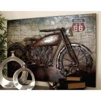 32 in. x 47 in. Vintage 3D Iron Motorcycle and Map Wall ...