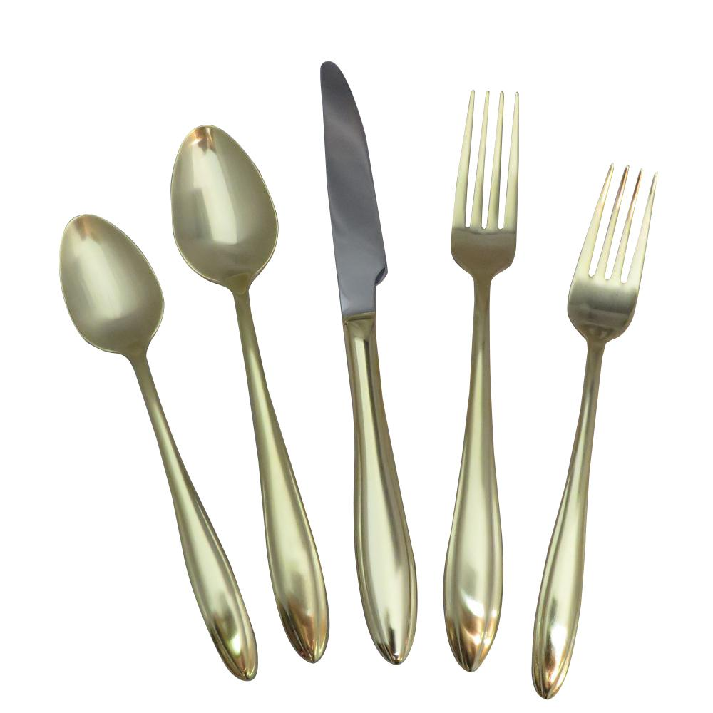 Gold Cutlery Sets Artesia 20 Piece Gold Flatware Set