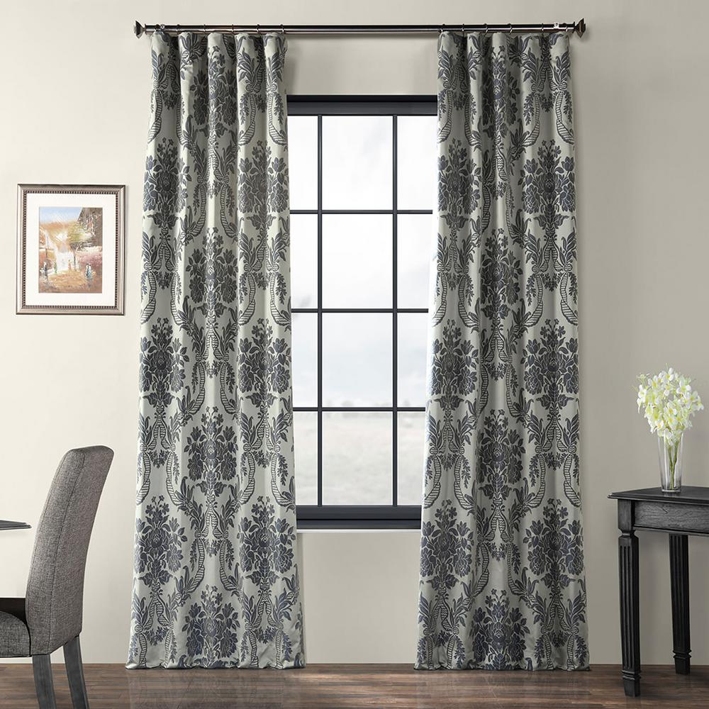 Jacquard Curtains Exclusive Fabrics Furnishings Magdelena Silver And Blue Faux Silk Jacquard Curtain Panel 50 In W X 120 In L