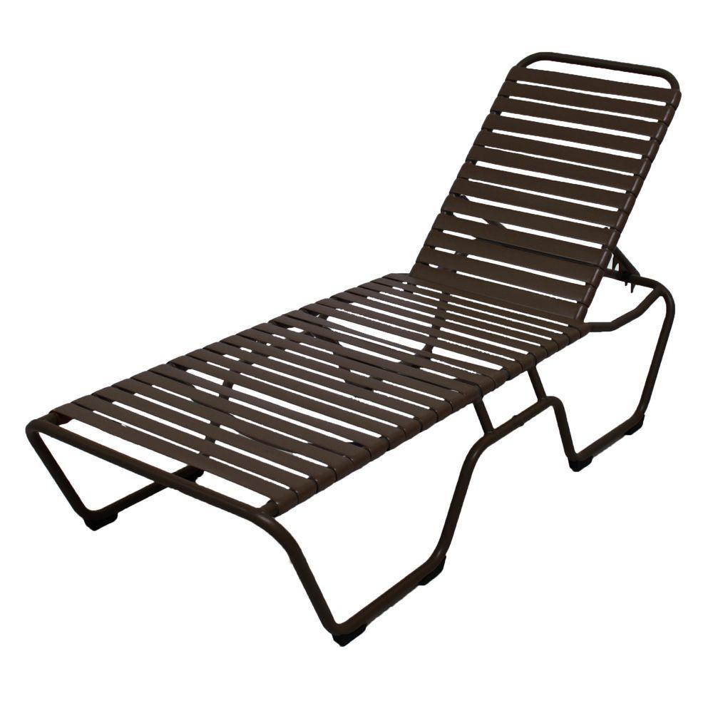 Pool Chaise Lounge Chairs Marco Island Dark Cafe Brown Commercial Grade Aluminum Vinyl Strap Outdoor Chaise Lounge In Leisure Brown 2 Pack
