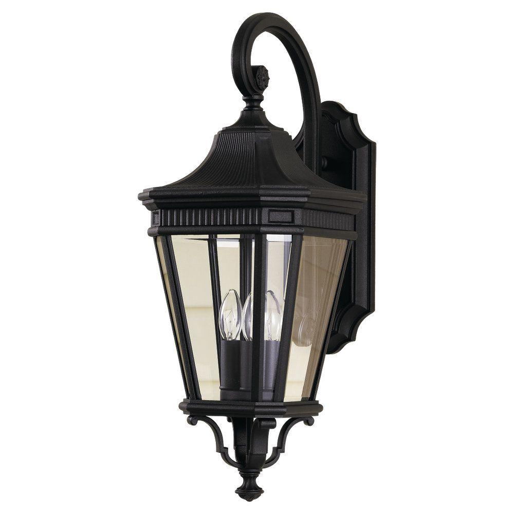 Feiss Cotswold Lane 3 Light Black Outdoor 23 75 In Wall Lantern Sconce Ol5402bk The Home Depot