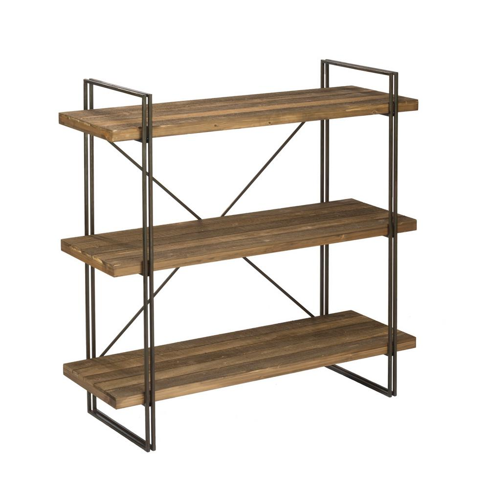 Etagere Metal Raw Brown Wood 3 Tier Etagere Open Bookcase