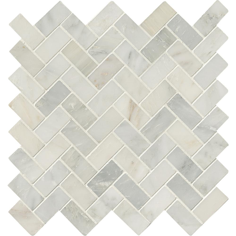 Arabesque Marble Tile Msi Arabescato Carrara Herringbone Pattern 12 In X 12 In X 10 Mm Honed Marble Mesh Mounted Mosaic Tile 10 Sq Ft Case