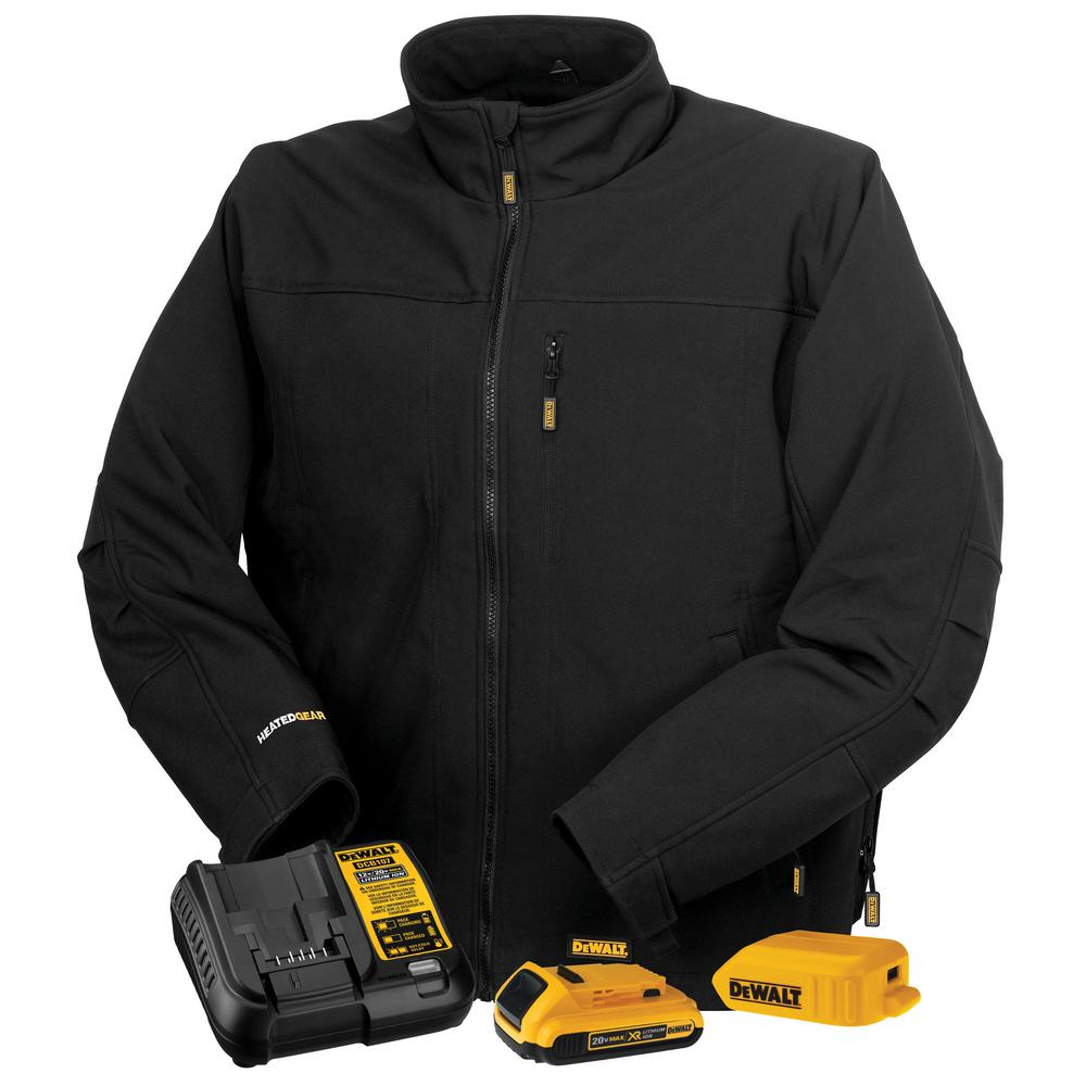 Heated Vest Canada Dewalt Unisex Medium Black Soft Shell Heated Jacket With 20 Volt 2 Amp Battery And Charger