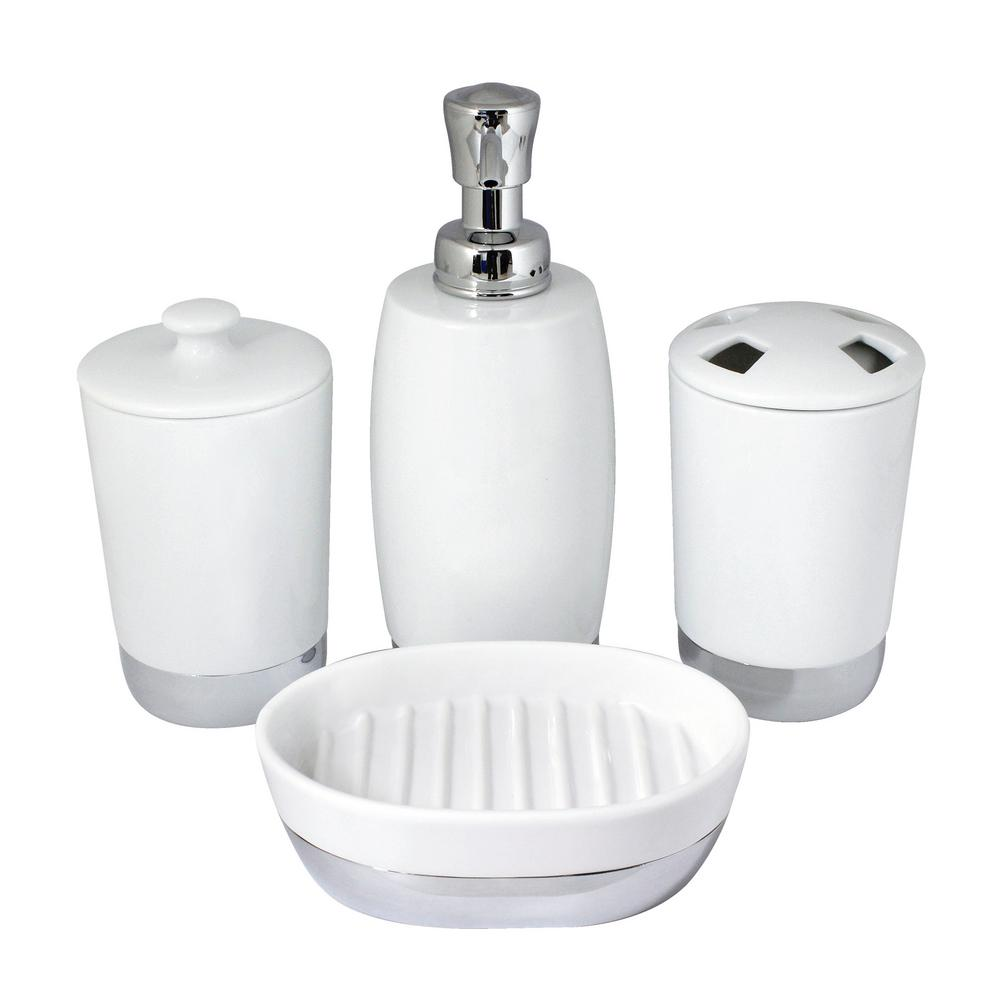 Bathroom Accessories Modona Arora 4 Piece Bathroom Accessories Set In White Porcelain And Polished Chrome