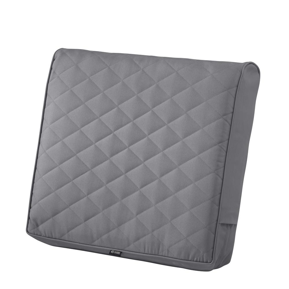 Quilted Lounge Chair Covers Classic Accessories Montlake Fadesafe 25 In W X 22 In D X 4 In Thick Grey Outdoor Quilted Lounge Chair Back Cushion