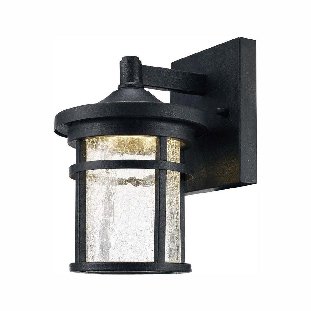 Exterior Led Light Fixtures Home Decorators Collection Aged Iron Outdoor Led Wall Lantern Sconce With Crackle Glass