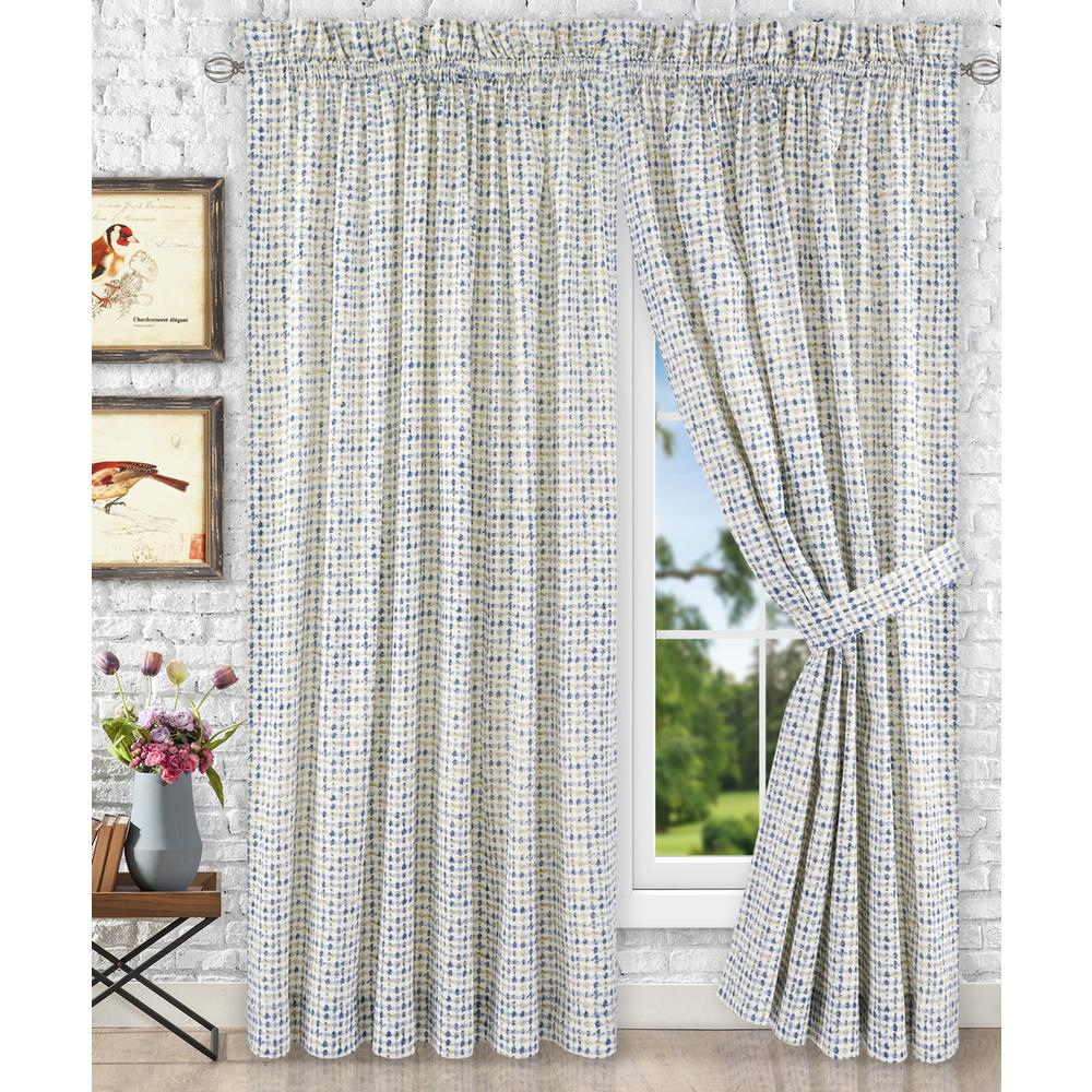 Curtains For A Blue Room Davins Blue Cotton Twill Tailored Pair Curtains With Ties 90 In W X 84 In L
