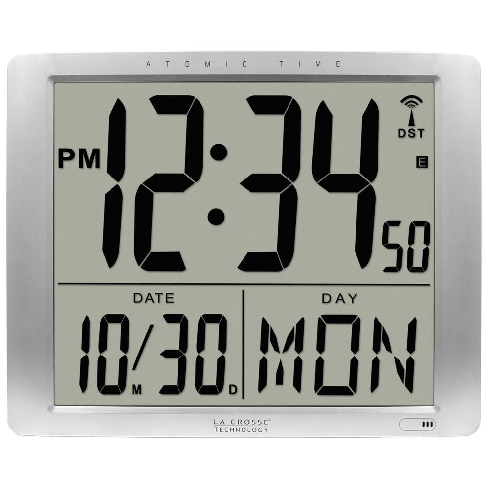 Digital Clock La Crosse Technology 16 In X 20 In Super Large Atomic Digital Wall Clock