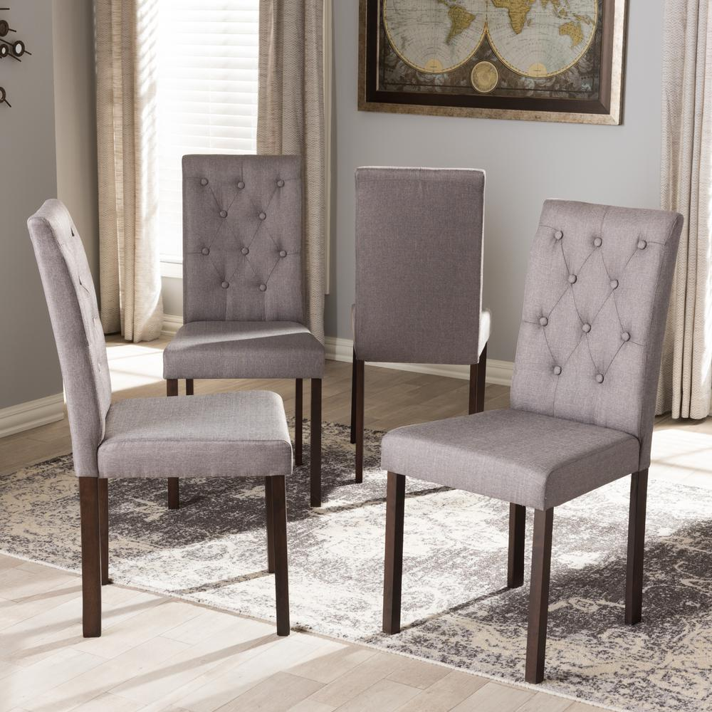 Dining Room Chair Fabric Baxton Studio Gardner Gray Fabric Upholstered Dining Chairs Set