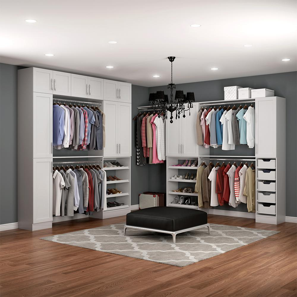 Walkin Closet Cabinets Modifi Madison 15 In D X 255 In W X 99 In H Melamine Walk In Closet System Kit In White