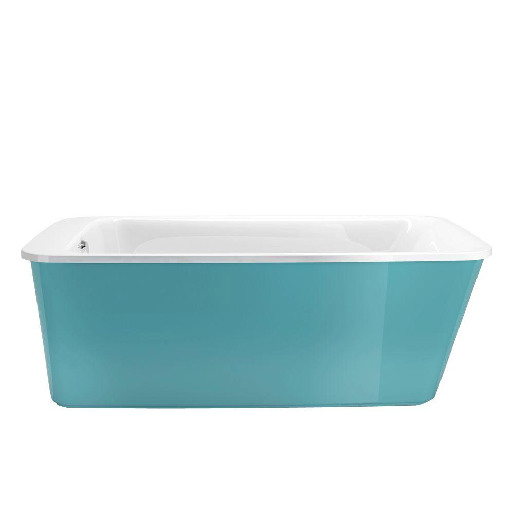 Aqua Whirlpools Maax Lounge 5 3 Ft Fiberglass Flatbottom Reversible Drain Non Whirlpool Bathtub In Aqua