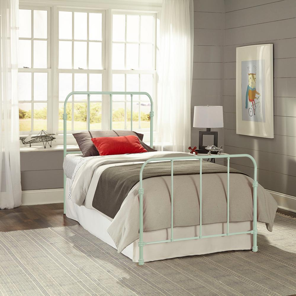 Metal Bed Headboards Fashion Bed Group Nolan Mint Green Twin Headboard And Footboard With Metal Duo Panels