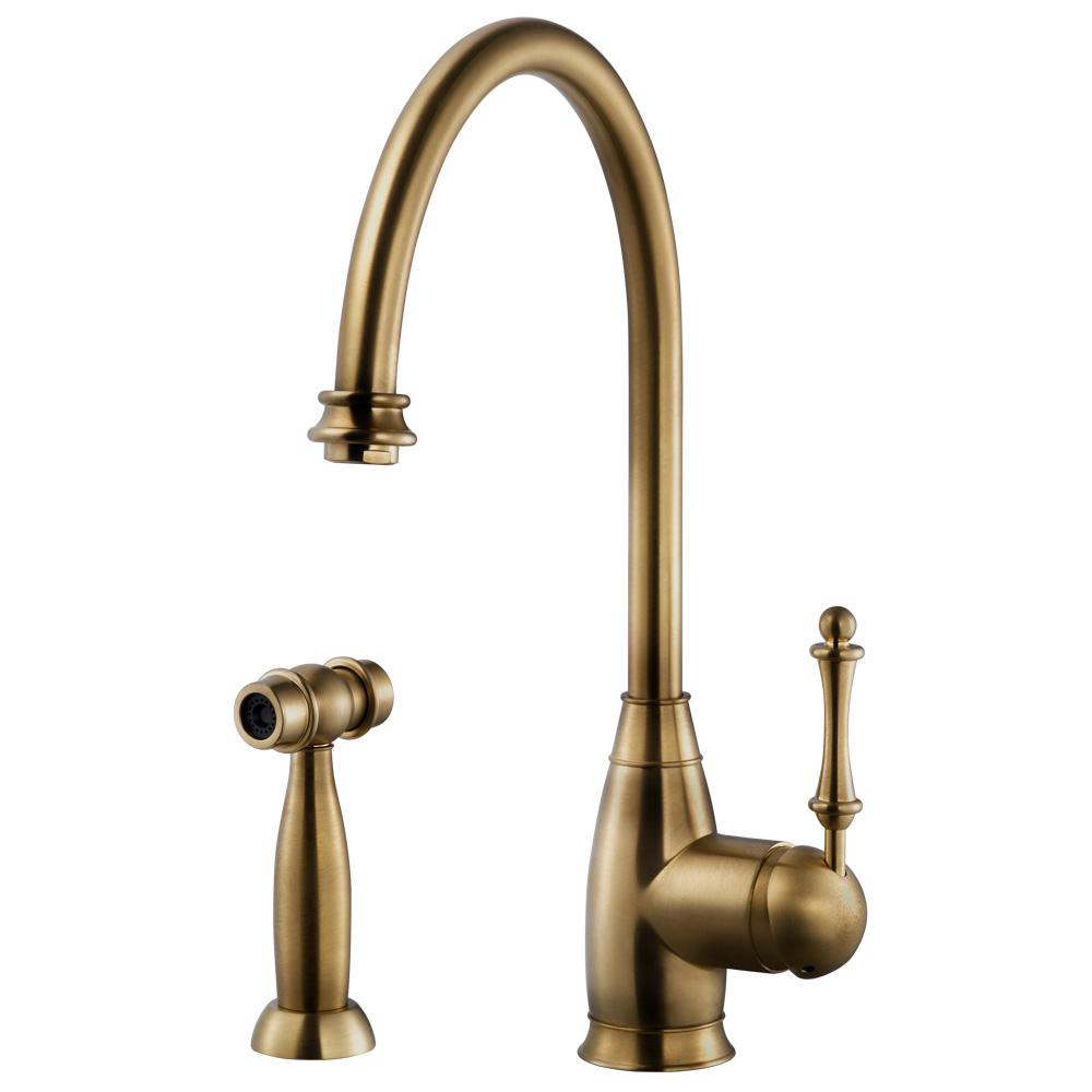 Manufacturer Factory Faucets Houzer Charlotte Traditional Single Handle Standard Kitchen Faucet With Sidespray And Ceradox Technology In Antique Brass
