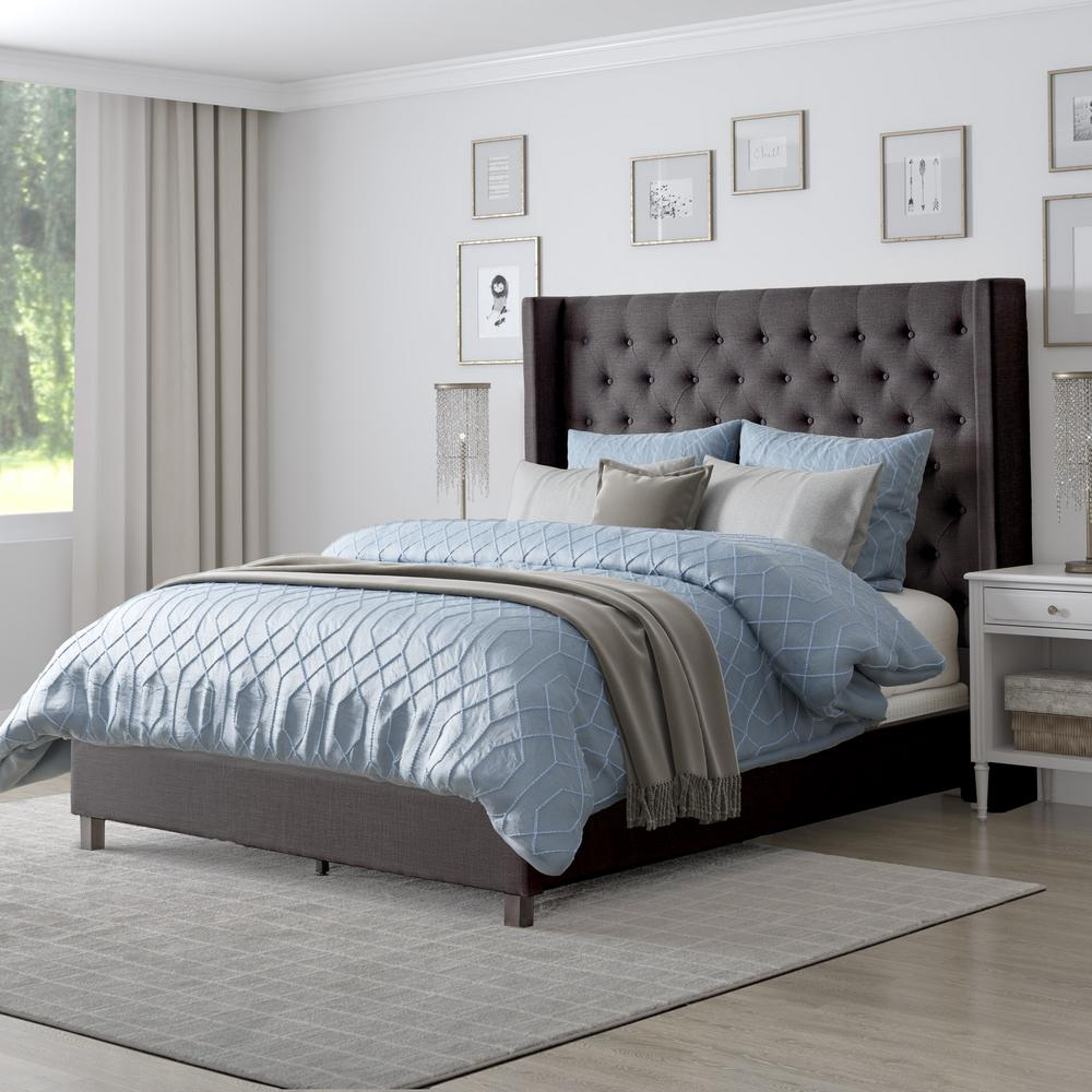 Full Double Bed Corliving Fairfield Dark Grey Tufted Fabric Full Double Bed With