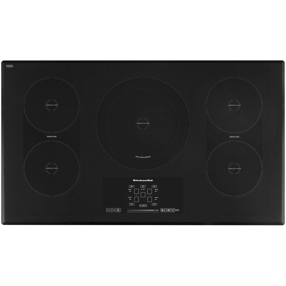 Plaque Induction Portable Professionnelle Kitchenaid Architect Series Ii 36 In Smooth Surface Induction Cooktop In Stainless Steel With 5 Elements Including Bridge Dual