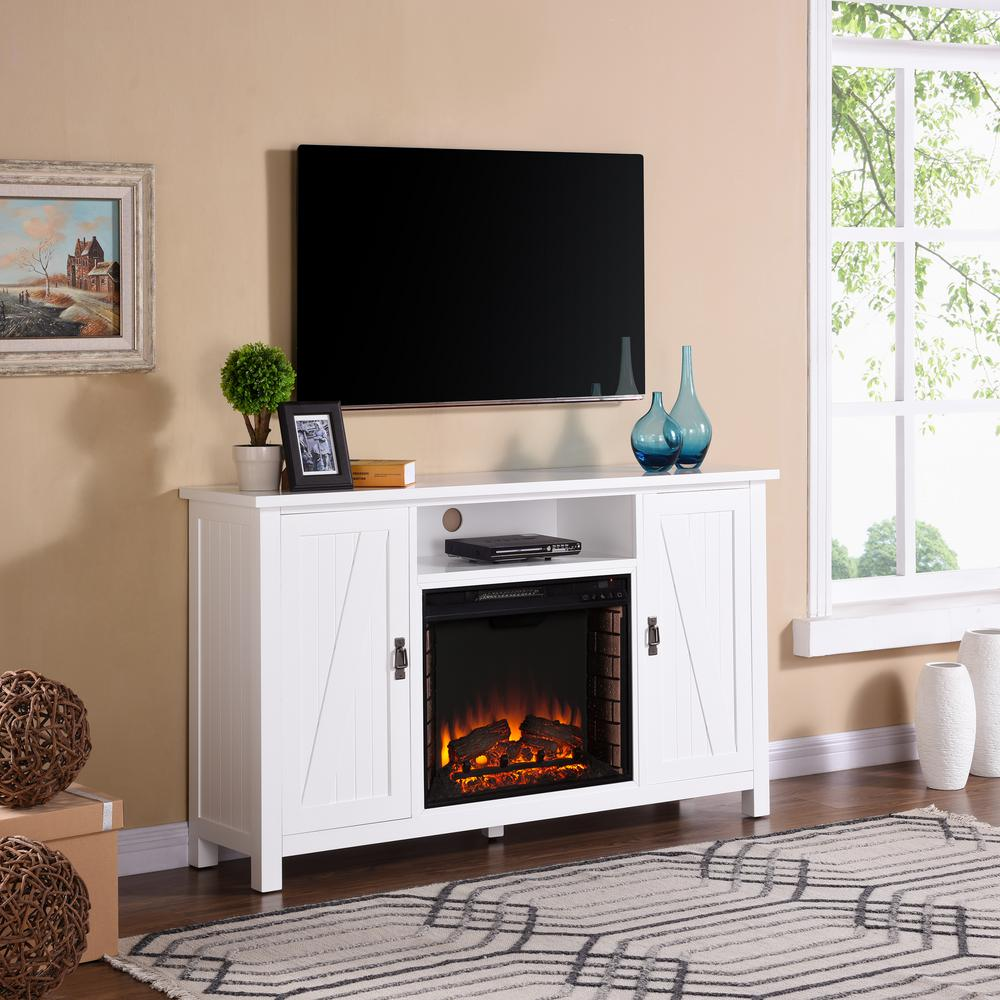 Living Room Electric Fireplace Southern Enterprises Fielder 58 In Farmhouse Style Electric Fireplace Tv Stand In White