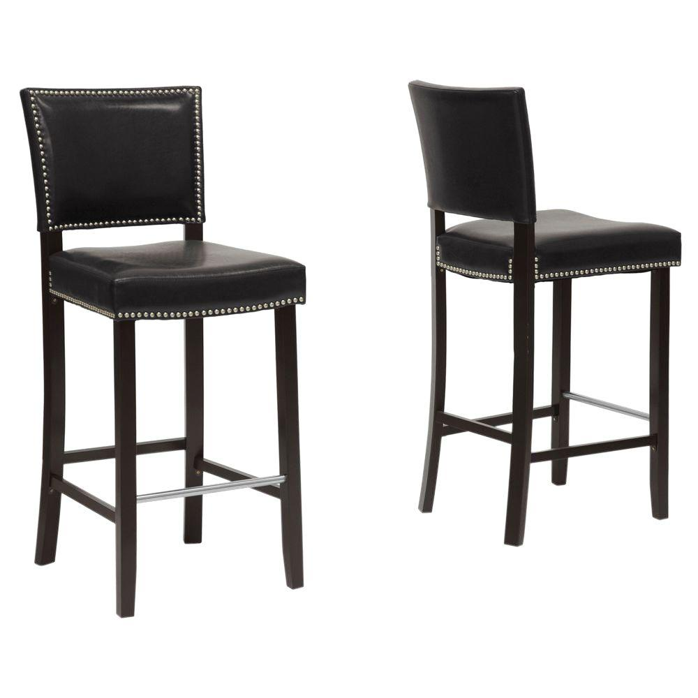 Bar Stool Chairs Aries Black Faux Leather Upholstered 2 Piece Bar Stool Set