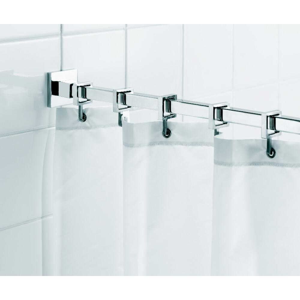 Unique Shower Curtain Rods Croydex Square 98 4 In L Luxury Shower Curtain Rod With Curtain Hooks In Chrome