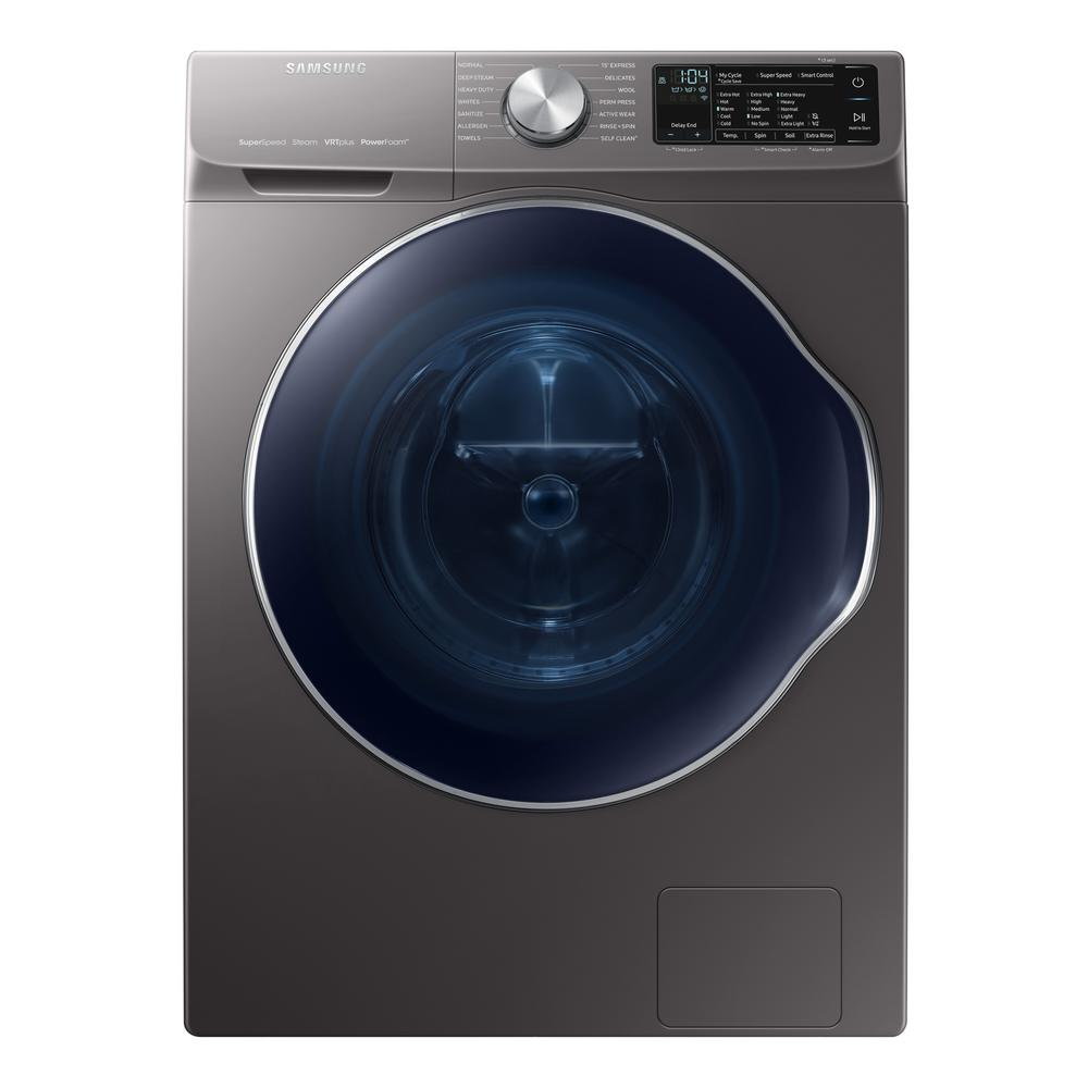 Samsung Front Load Washer Samsung 2 2 Cu Ft Capacity Front Load Washer With Steam In Gray Energy Star