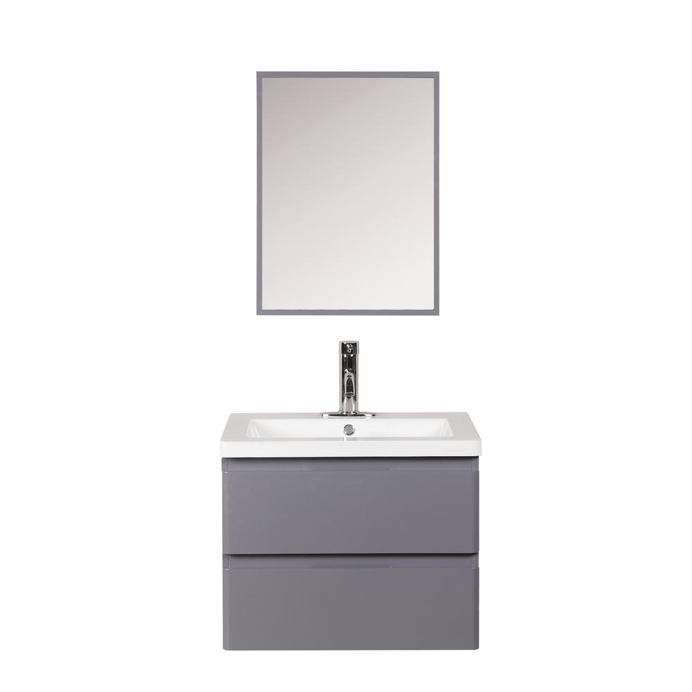 Marble Basin Decor Living Ariel 24 In W X 18 In D Floating Vanity In Gray With Cultured Marble Basin In White And Mirror