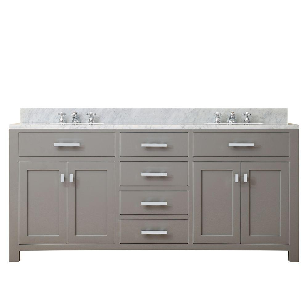Bathroom Vanity 72 Double Sink Water Creation 72 In W X 21 In D X 34 In H Vanity In Cashmere Grey With Marble Vanity Top In Carrara White