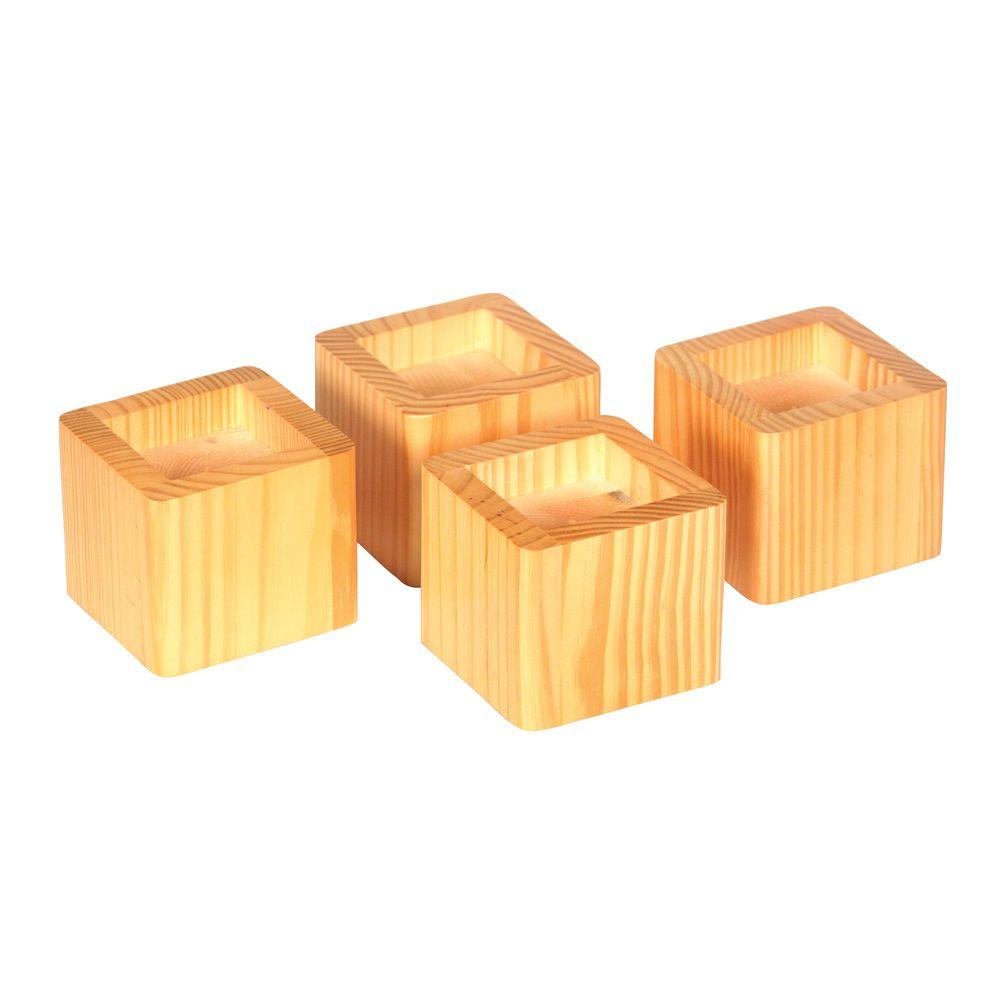 Richards 4 5 X 4 5 Honey Bed Furniture Risers Set Of 4 6080 4 The Home Depot
