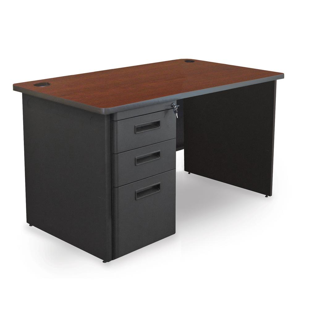 Mahogany Office Desk 48 In W X 30 In D Mahogany Laminate And Dark Neutral Single Full Pedestal Desk
