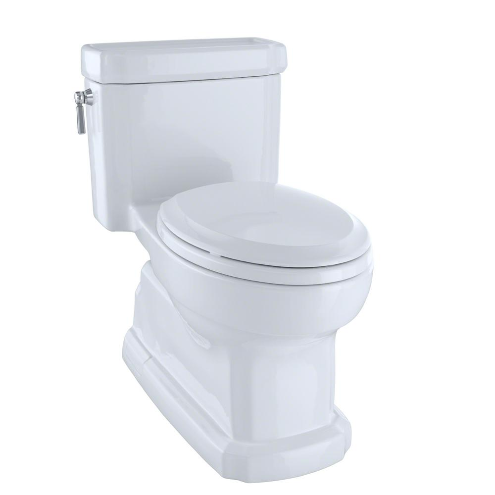 Toilette Toto Toto Eco Guinevere 1 Piece 1 28 Gpf Single Flush Elongated Skirted Toilet With Cefiontect In Cotton White