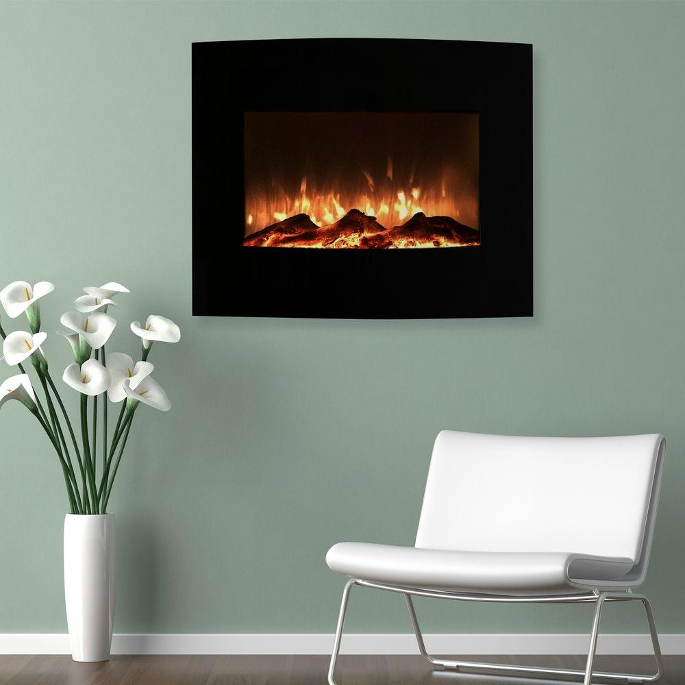 Wall Mount Fireplace Heaters Northwest 25 In Mini Curved Electric Fireplace With Wall And Floor Mount In Black