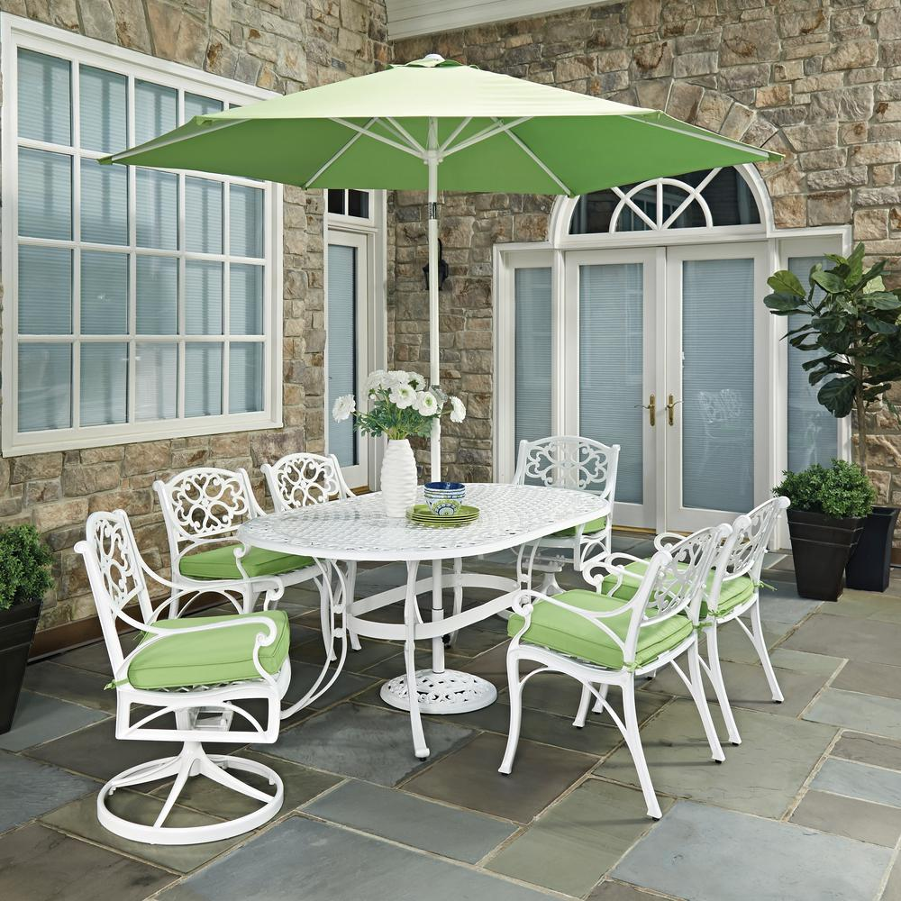 9 Piece Outdoor Dining Set Home Styles Biscayne White 9 Piece Outdoor Dining Set With Green Cushions