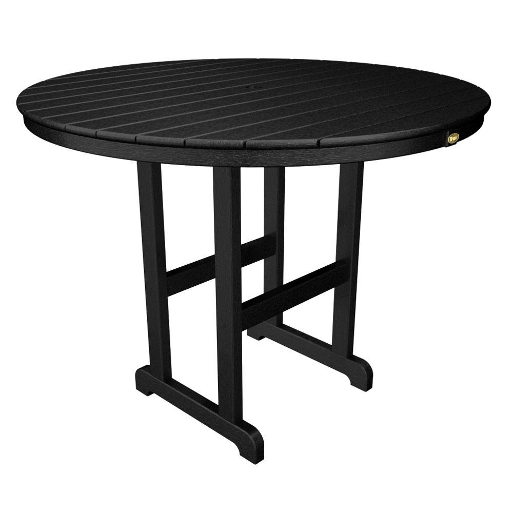 Round Patio Furniture Trex Outdoor Furniture Monterey Bay 48 In Charcoal Black Round Patio Counter Table