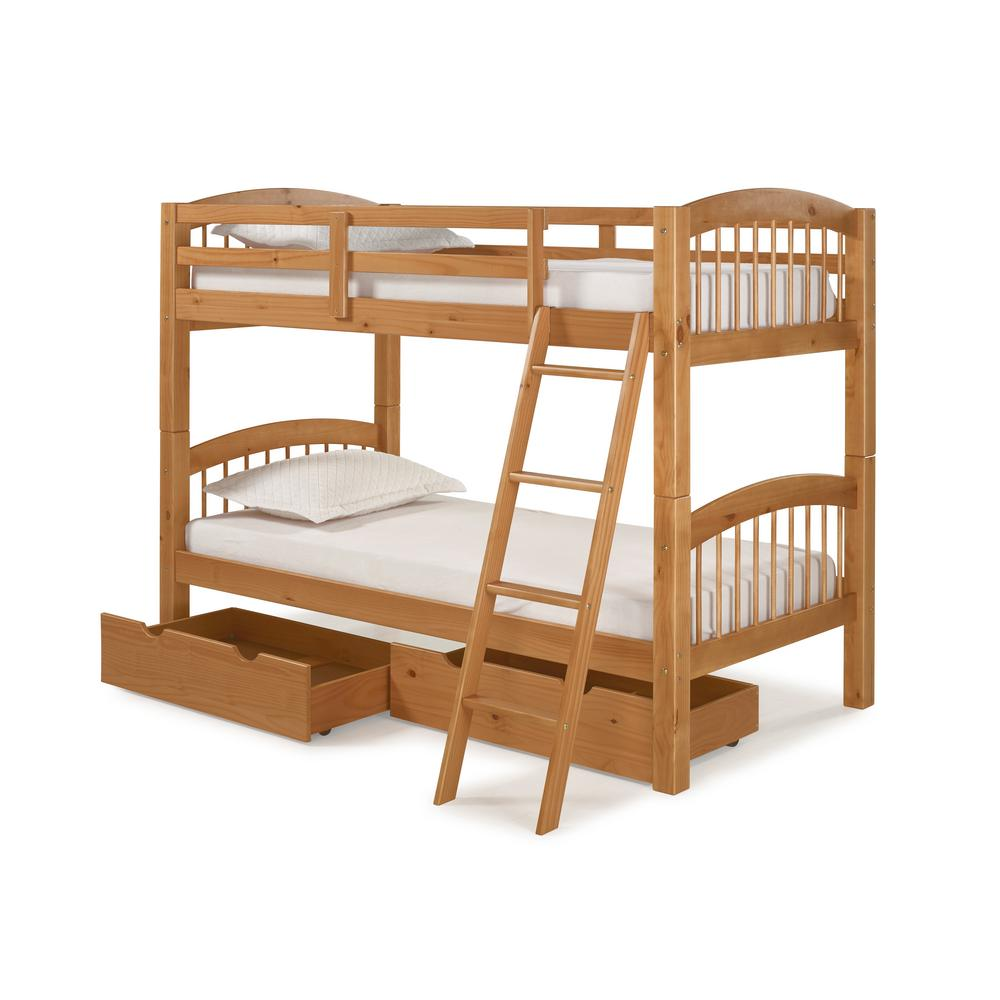 Under Bed Storage Frame Spindle Cinnamon Twin Over Twin Wood Bunk Bed With Under Bed Storage Drawers