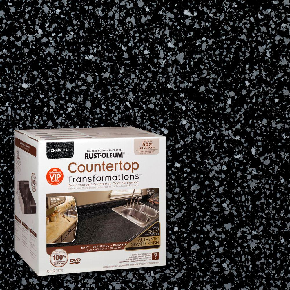 Rust Oleum Transformations 70 Oz Charcoal Large Countertop Kit 258285 The Home Depot