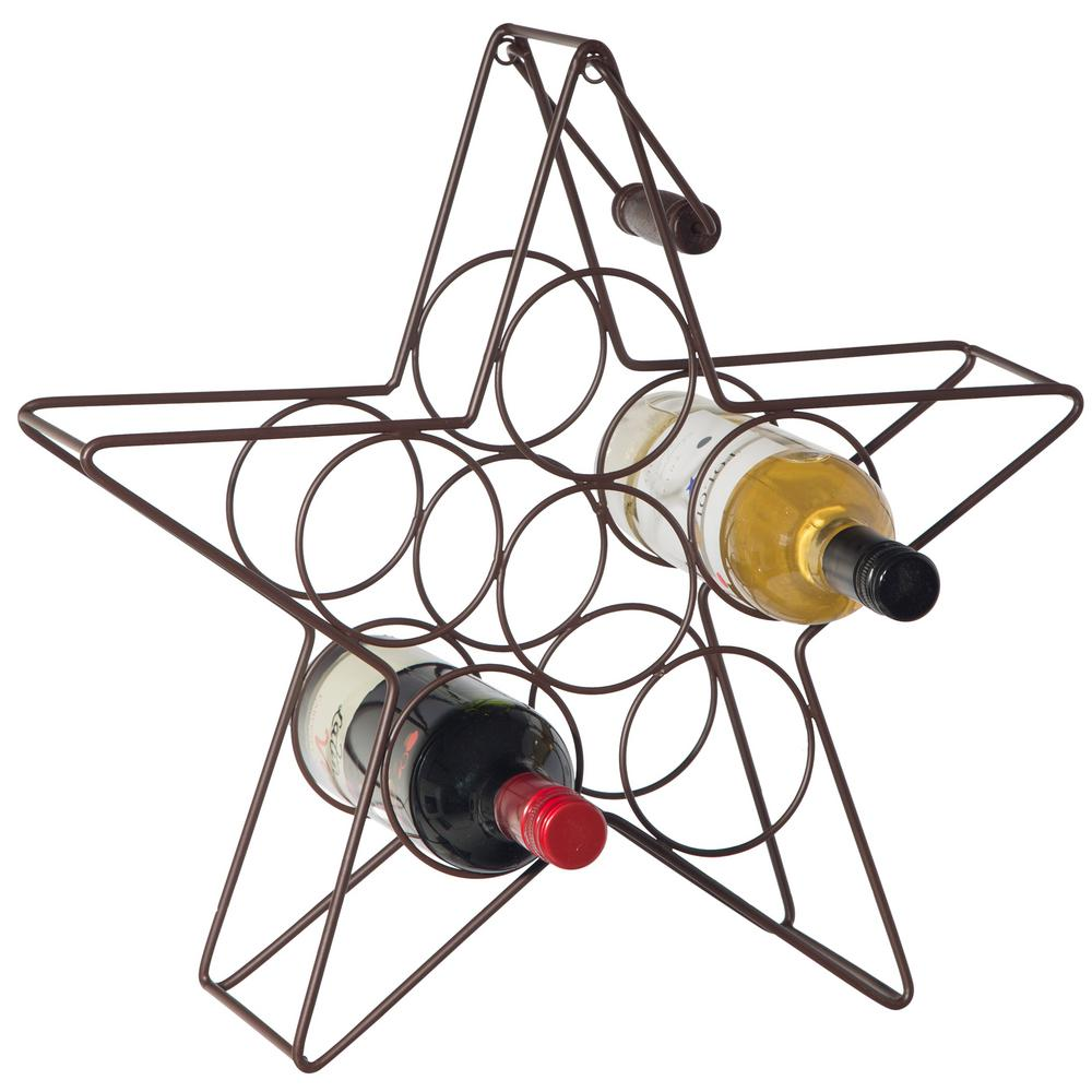 Decorative Metal Wine Racks Bronze Star Shaped Bar And Wine Storage Rack