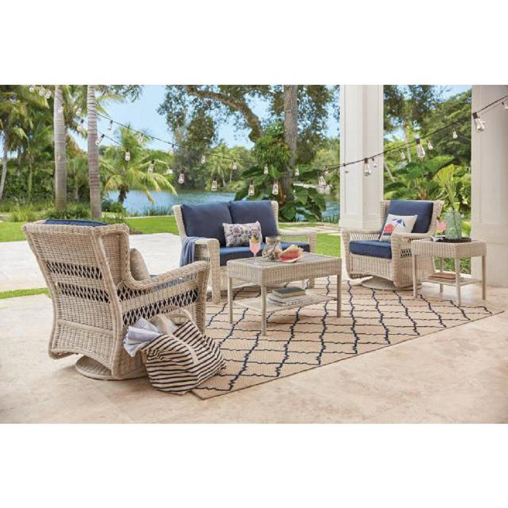 Outdoor Lounge Hampton Bay Park Meadows Off White Swivel Rocking Wicker Outdoor Lounge Chair With Midnight Cushion