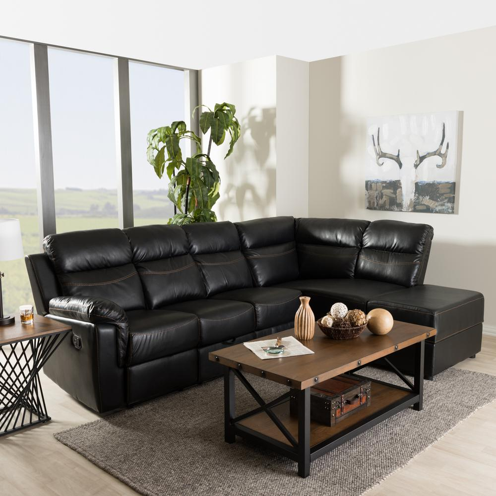 Fabric Sectional Sofas Canada Baxton Studio Roland 2 Piece Contemporary Black Faux Leather