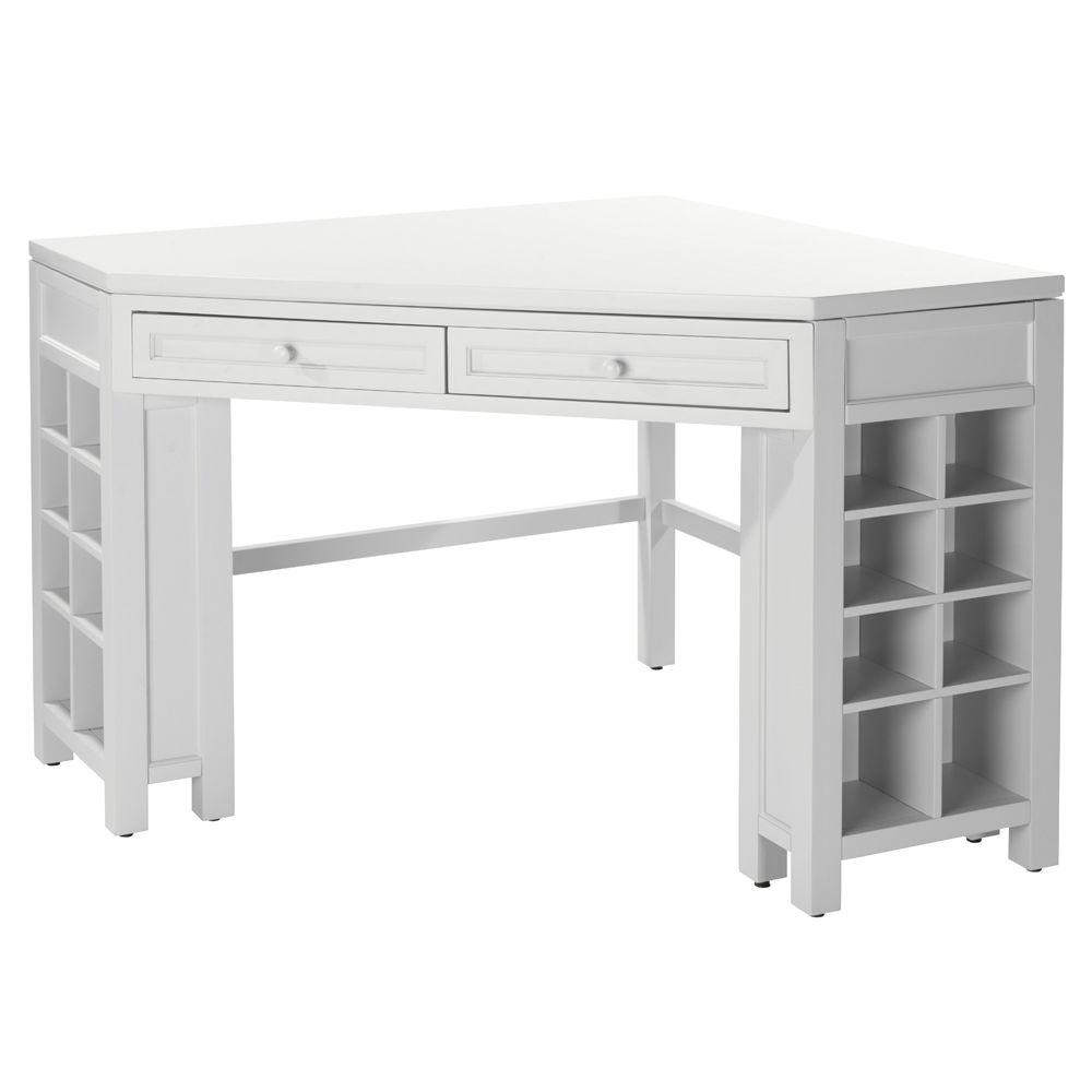 Bouwtekening Sidetable Craft Space Picket Fence White Corner Craft Table With Storage