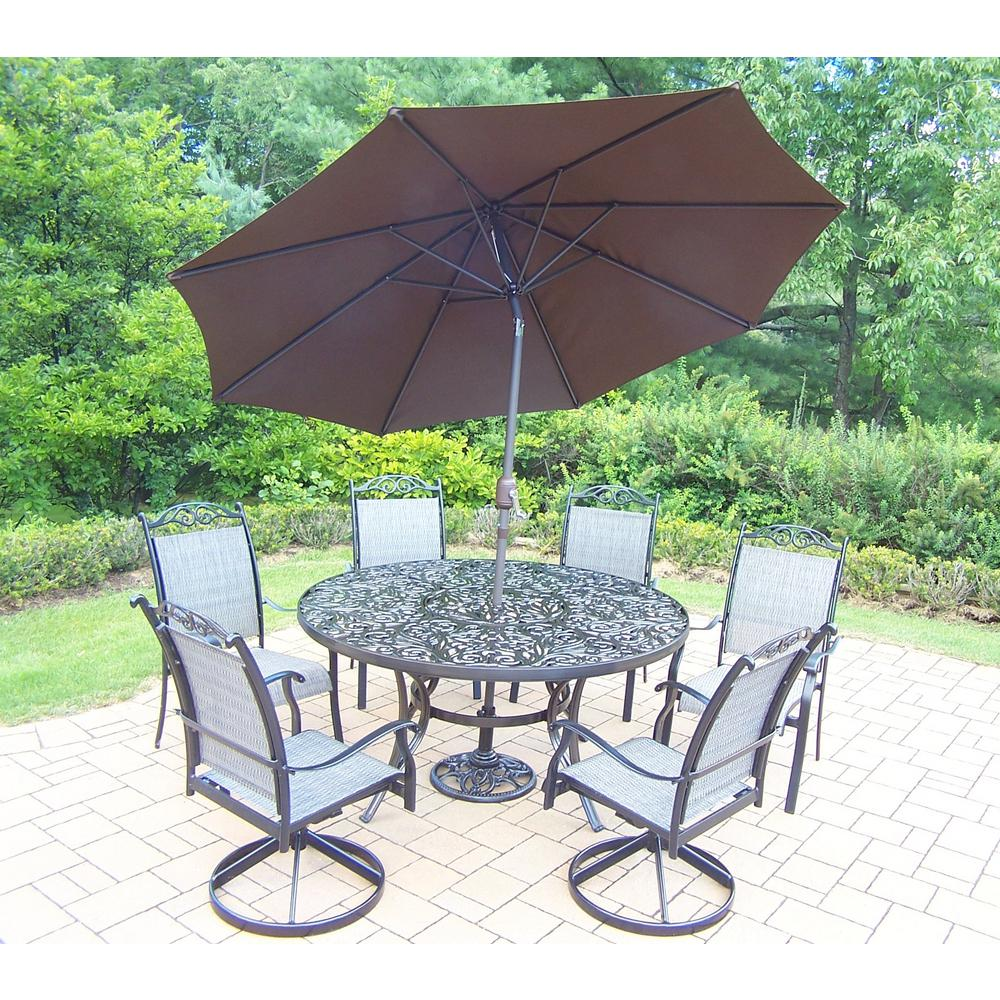 9 Piece Outdoor Dining Set Black 9 Piece Aluminum Outdoor Dining Set And Brown Umbrella