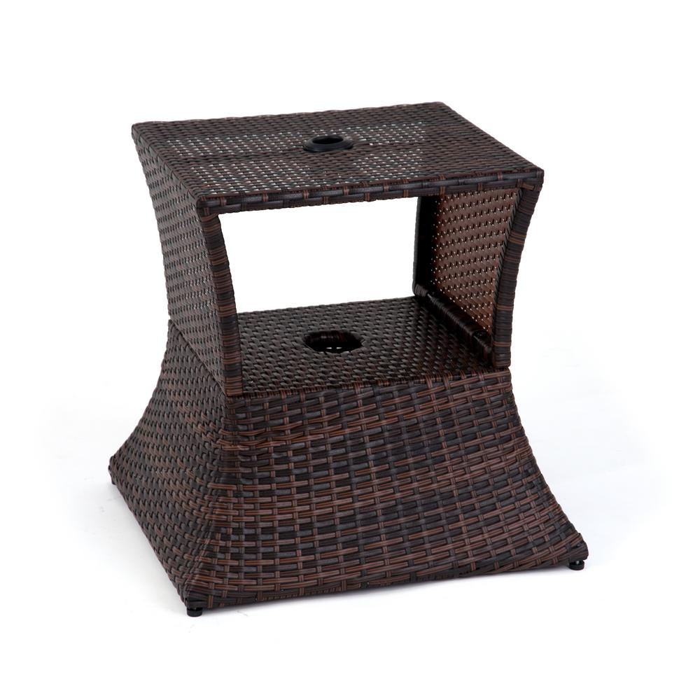 Rattan Table Trademark Innovations 17 In Square Pe Rattan Patio Umbrella Stand Side Table In Brown