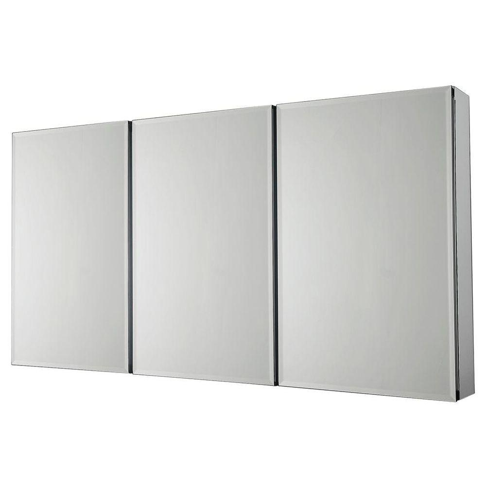 Medicine Cabinet Mirrors Pegasus 48 In W X 26 In H Frameless Recessed Or Surface Mount Tri View Bathroom Medicine Cabinet With Beveled Mirror