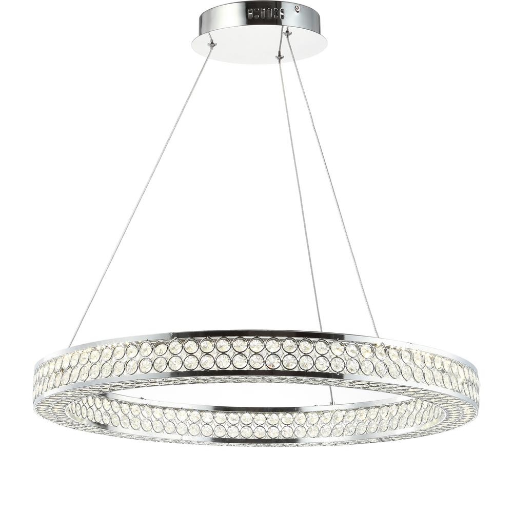 Led Chandelier Benton 36 Watt Chrome Clear Integrated Led Chandelier