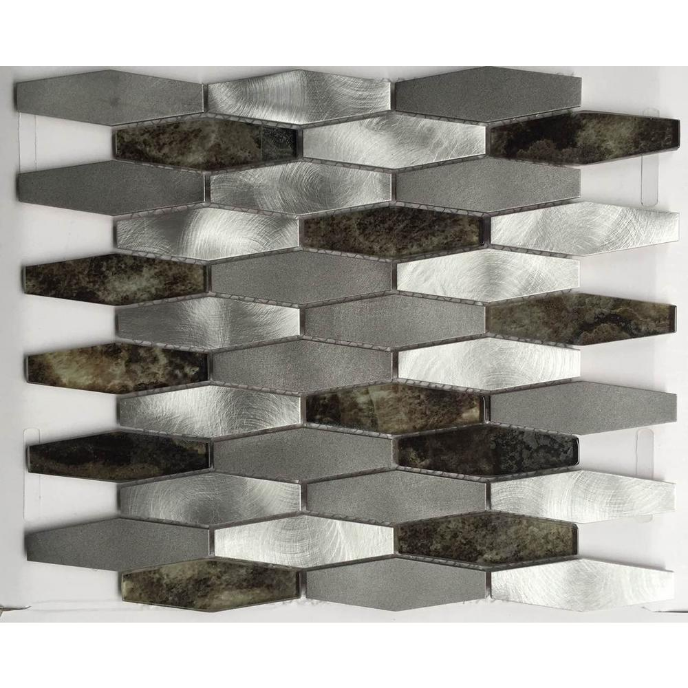Gray Brown Backsplash Chenx 11 81 In X 13 97 In Aluminum And Glass Mosaic Backsplash In White Gray Brown 12 6 Sq Ft Case