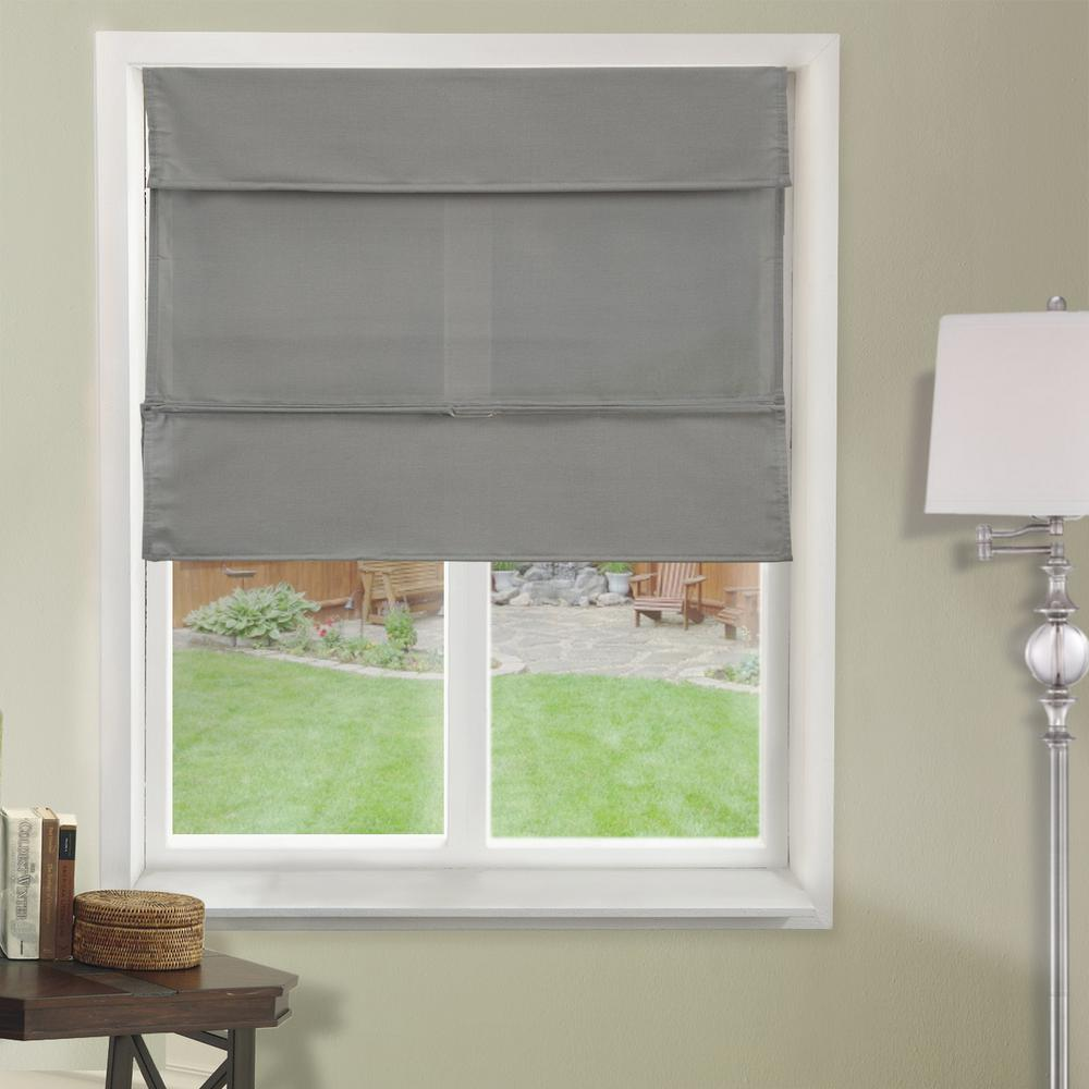 Diy Roman Shades Easy Chicology 39 In W X 64 In L Daily Grey Light Filtering Horizontal Fabric Roman Shade